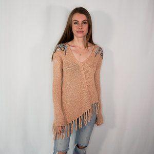 PATRIZIA PEPE Beige Cable Knit Asymmetric Sweater